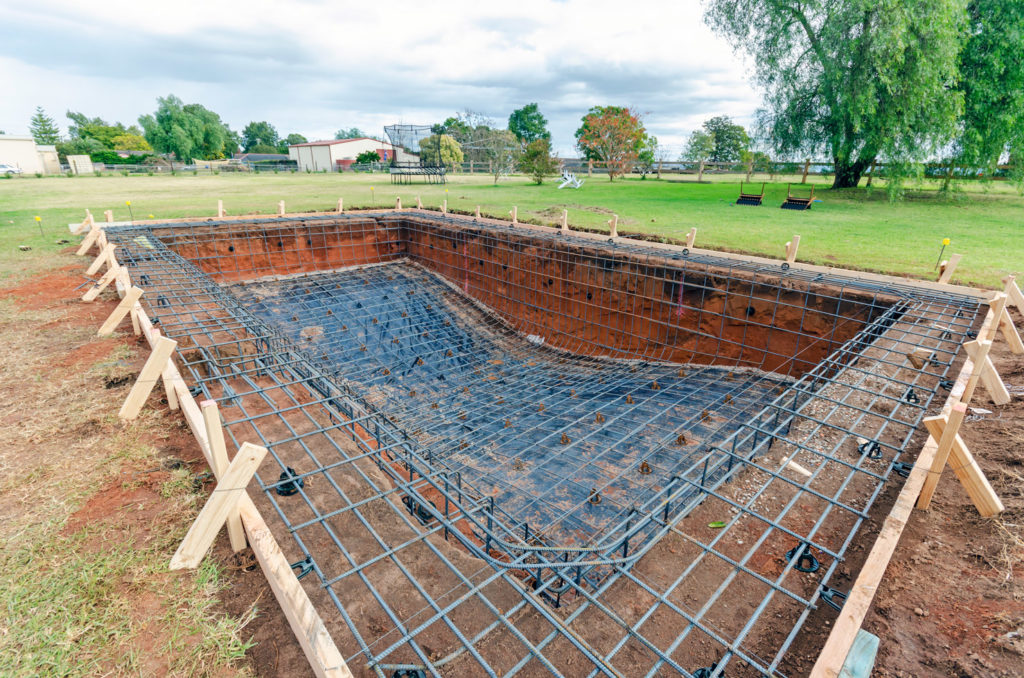 Pool construction in progress - formwork